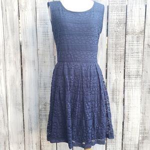 Max Studio M Textured Stripe Polkadots Blue Dress